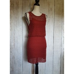 Free People Red Lace Fitted Mini Dress | Size XS